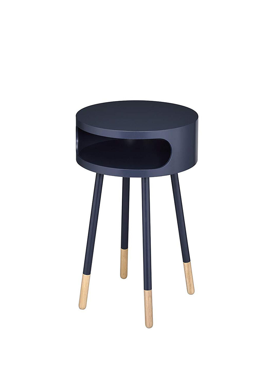 Sonria Round End Table, Black & Natural