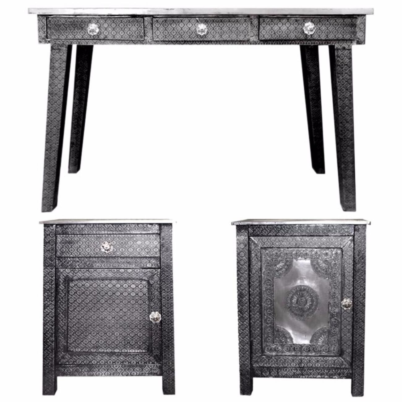 3 Piece Of Traditional Style Wooden Console Table with Desk, Gray