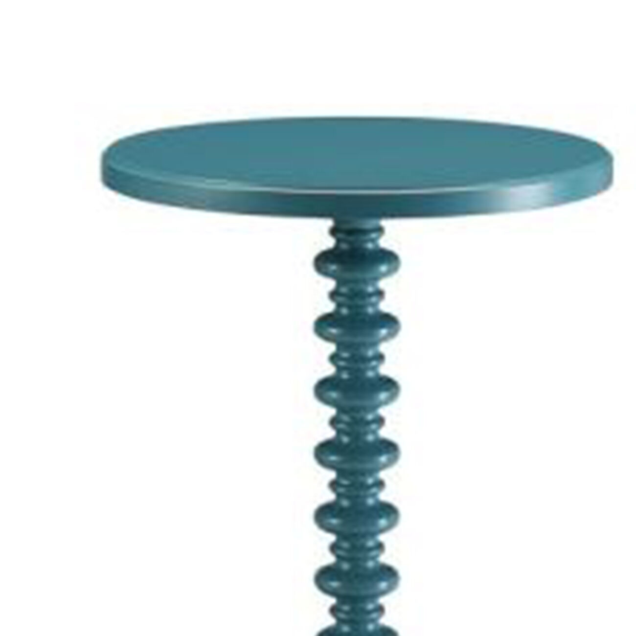 Astonishing Side Table With Round Top, Teal Blue