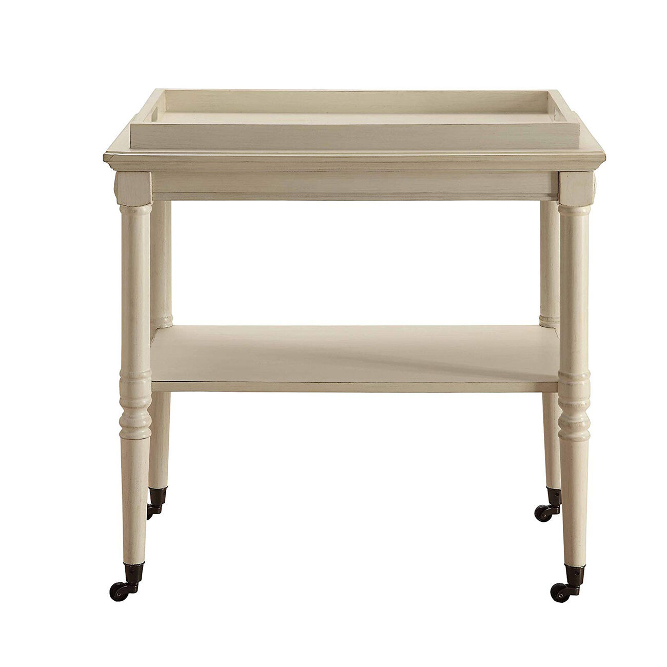 Wooden Serving Tray Table, Antique White