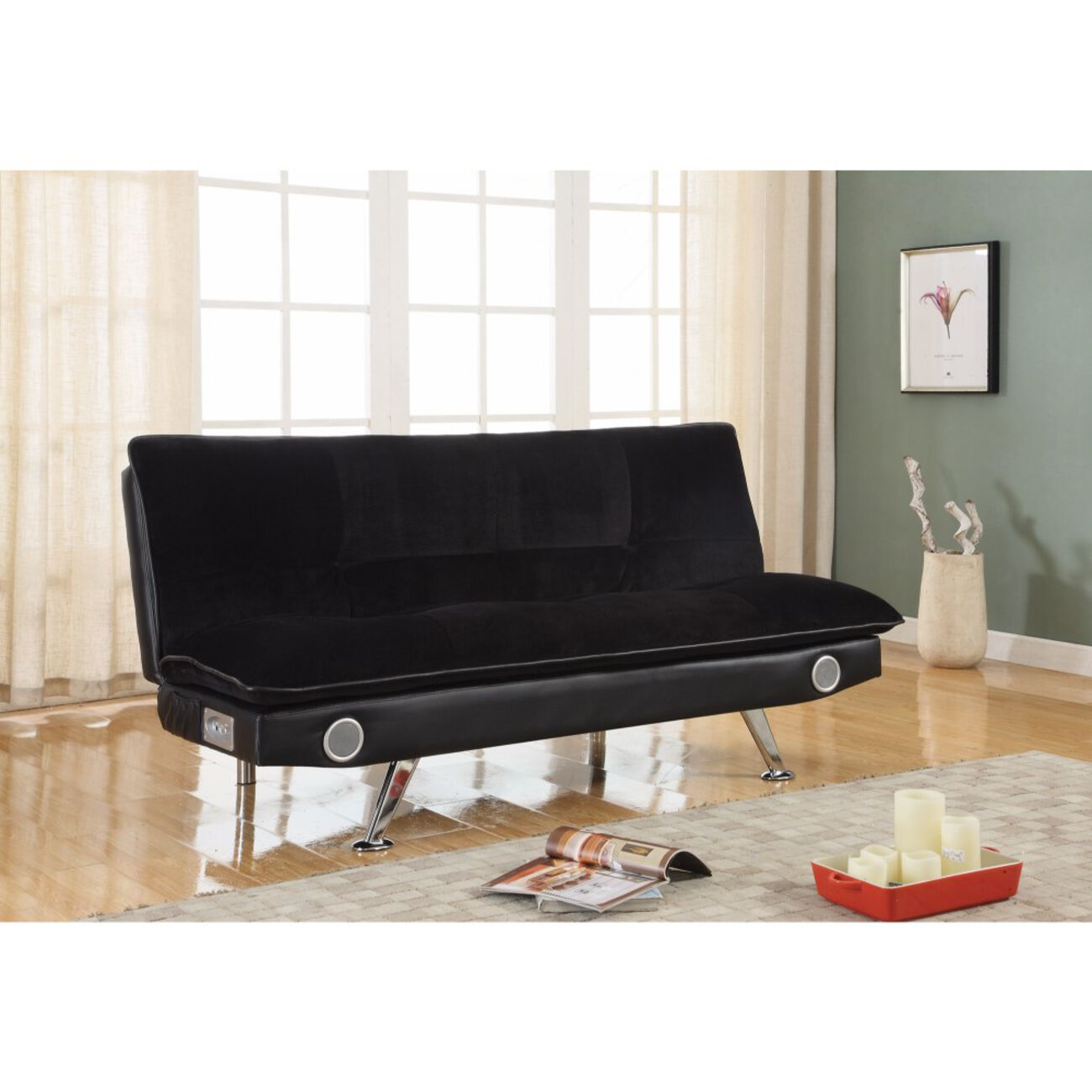 Retro Chick Sofa Bed with speakers, Black