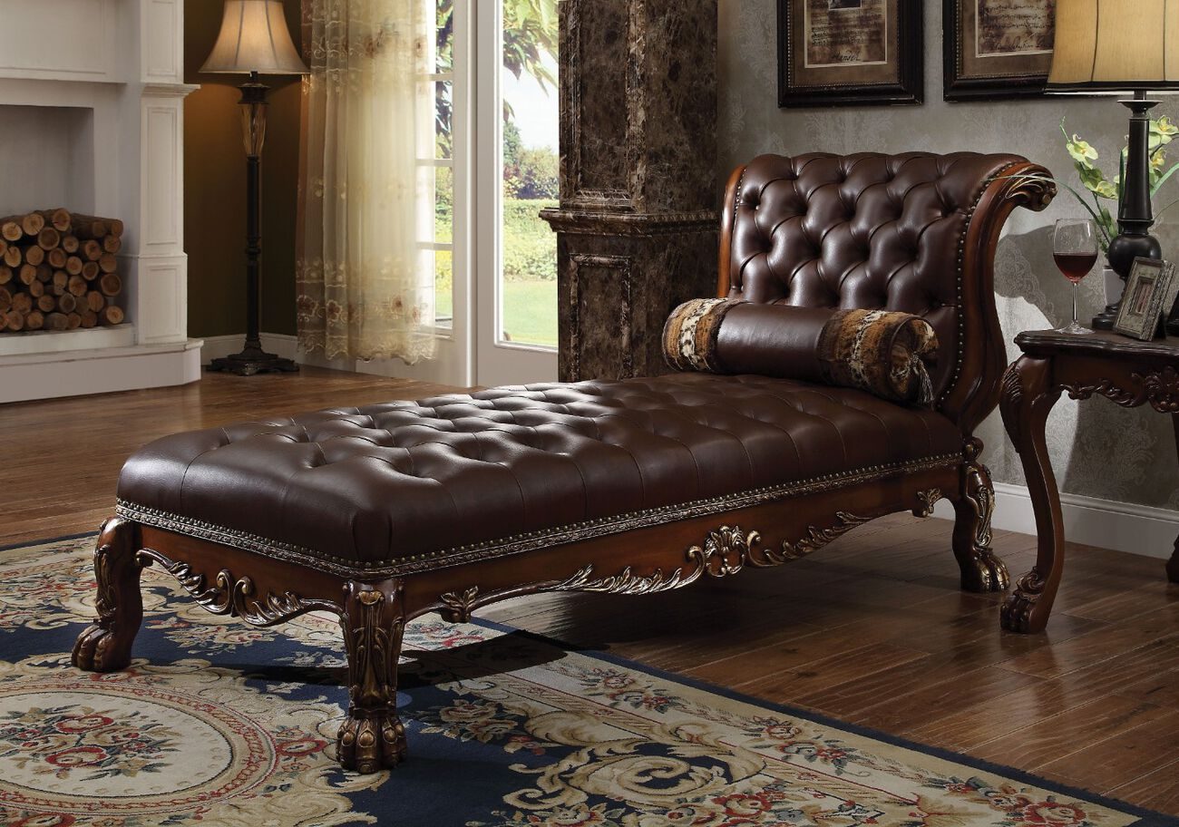 Wooden Chaise with 1 Pillow, Cherry Oak Brown