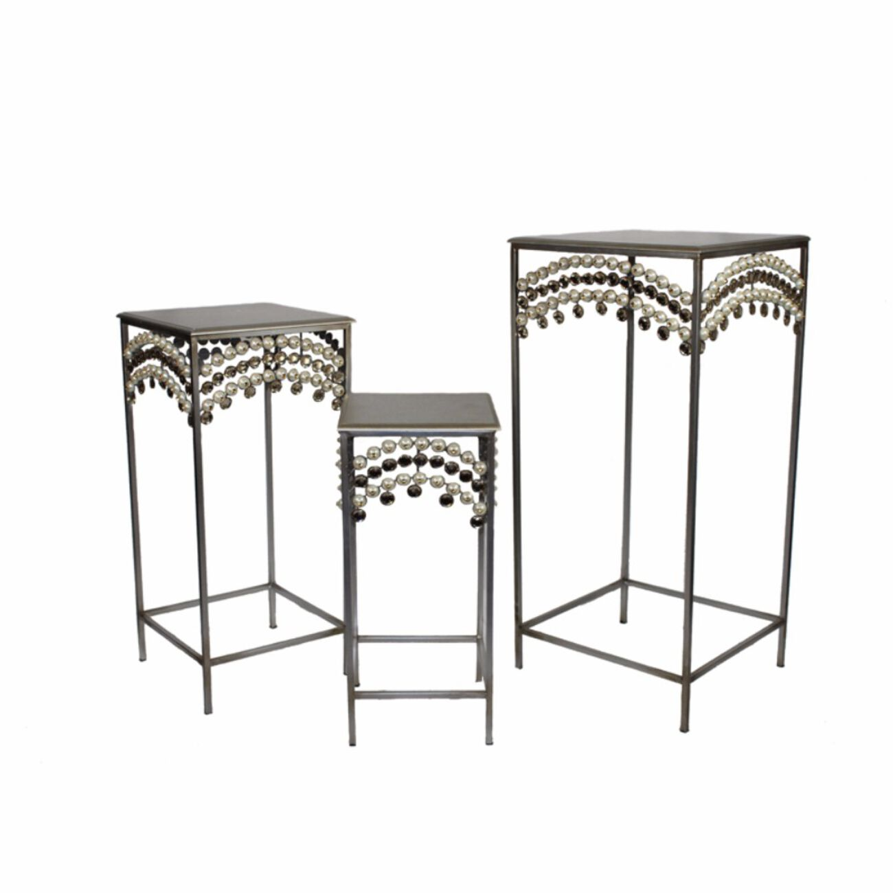 Set Of 3 Metalic Accent Table, Silver
