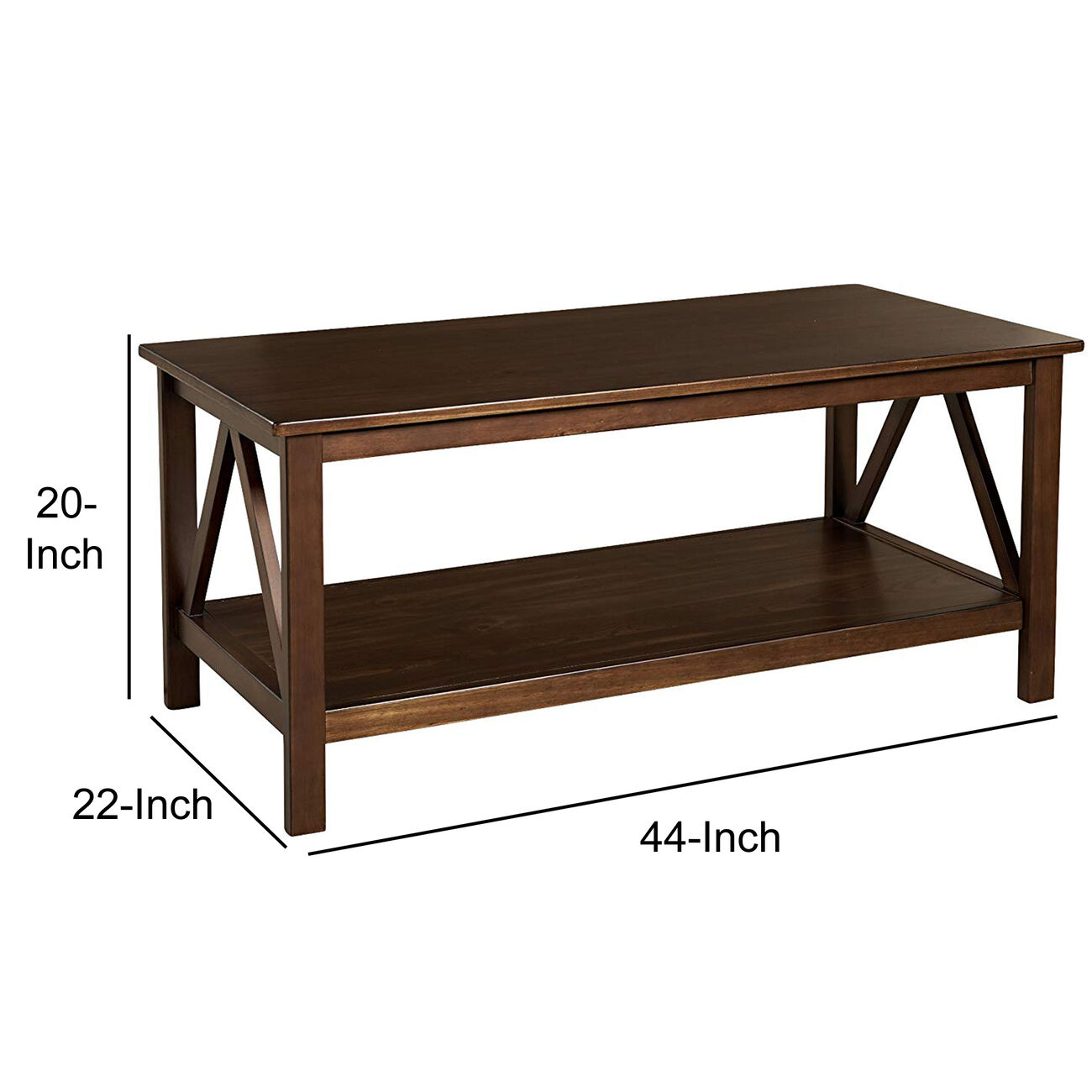 Wooden Rectangular Coffee Table with Inverted V Design Sides, Brown