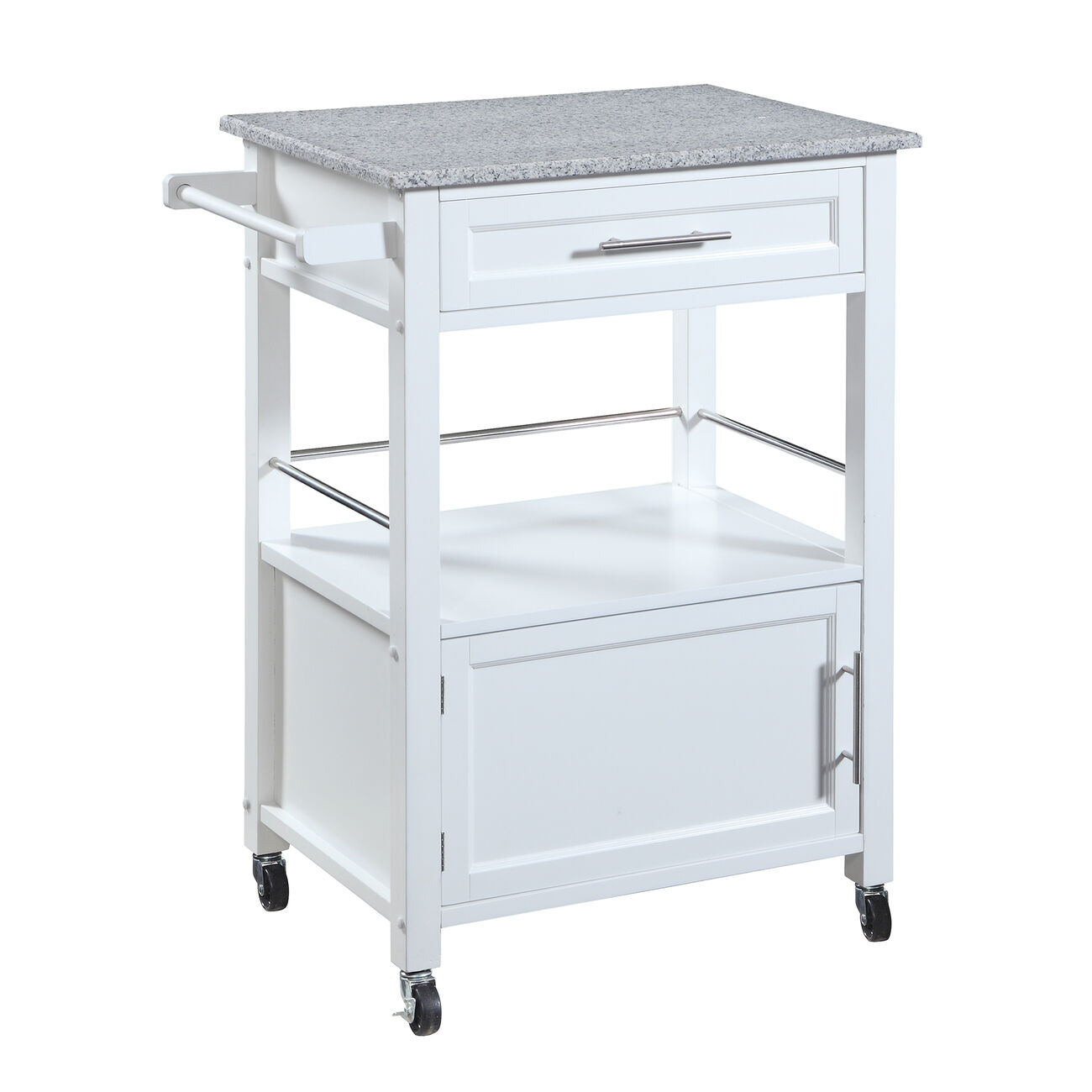 Granite Inlaid Spacious Wooden Kitchen Cart, White and Gray