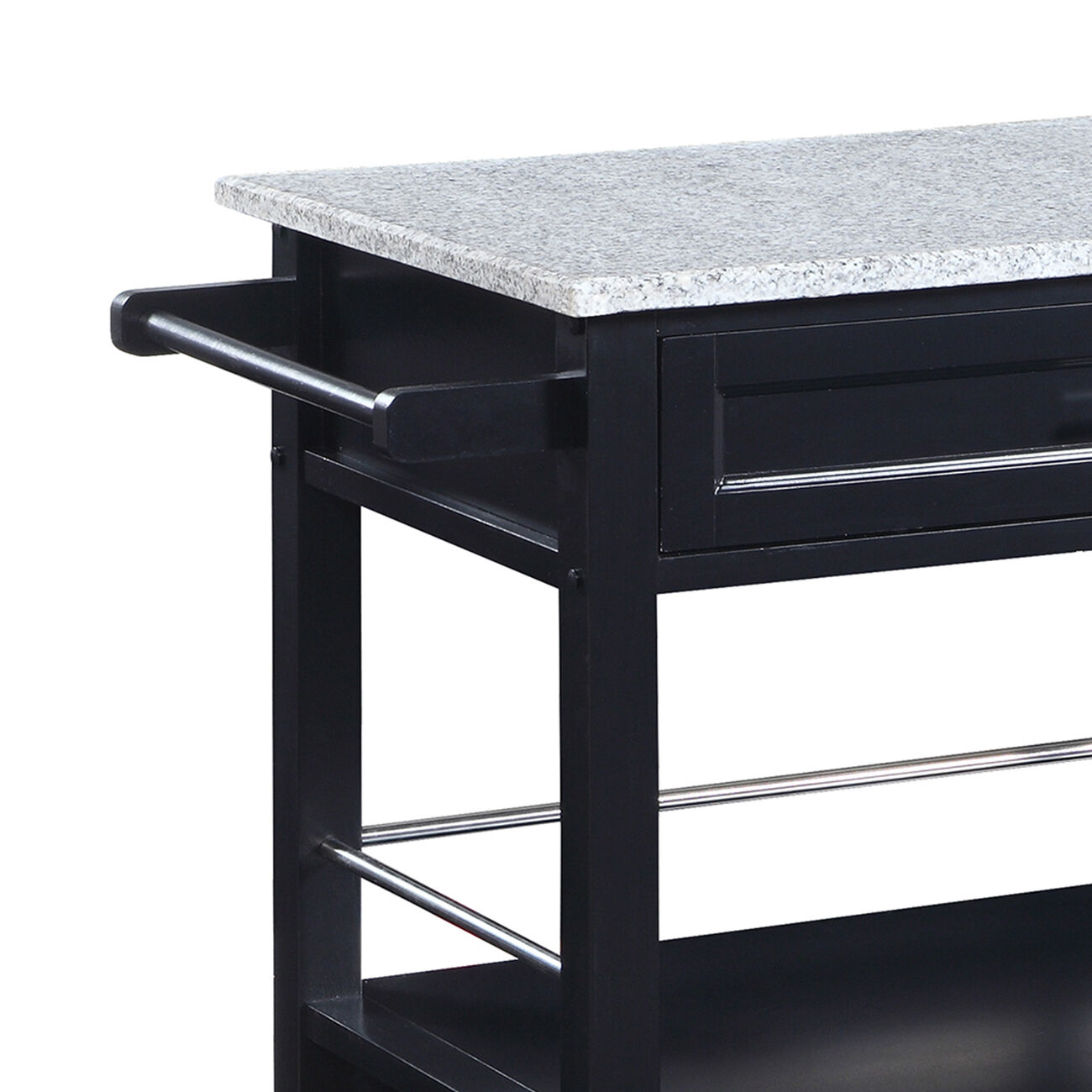 Spacious Wooden Kitchen Cart with Granite Inlaid Top, Black and Gray