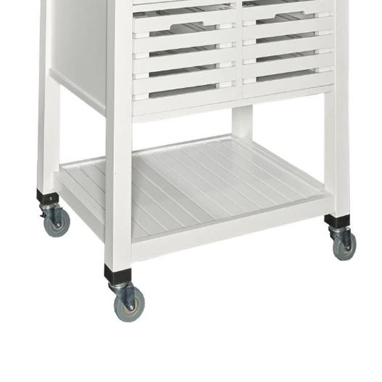 Wooden Kitchen Cart with Caster Wheels and 4 Drawers, White and Silver