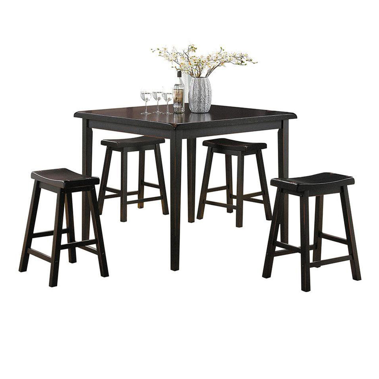 Gaucho 5 Piece Pack Counter Height Set, Black