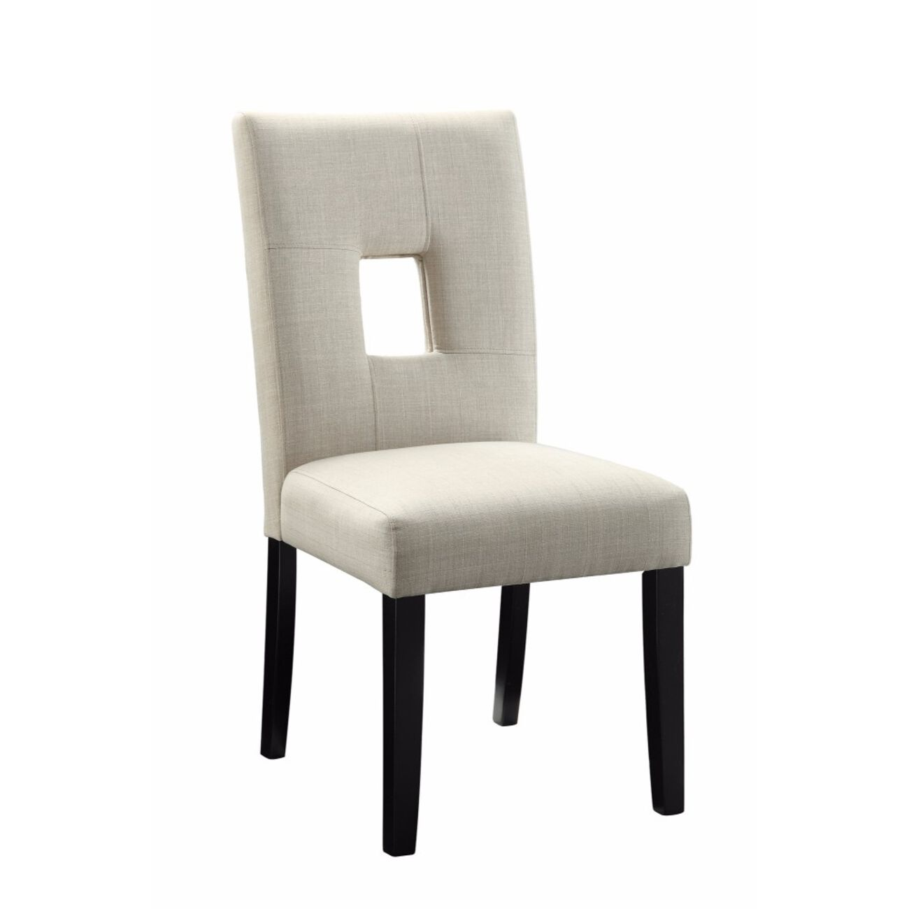 Wooden Dining Side Chair, Beige & Black, Set of 2