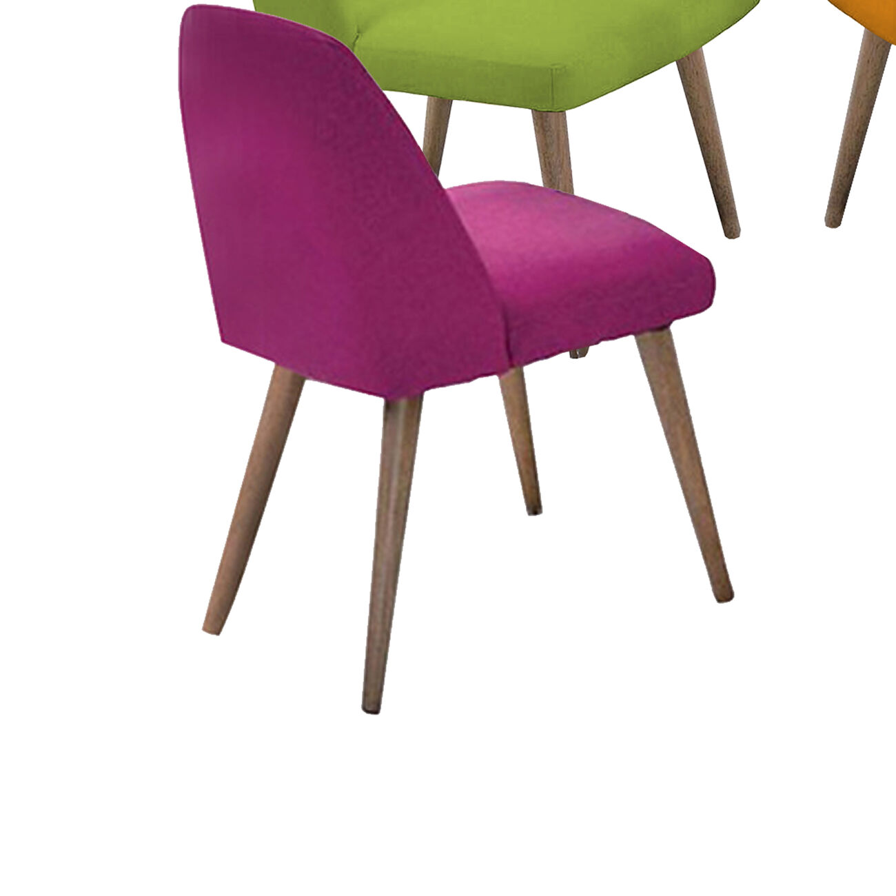 Wooden Side chairs, Pack of 4, (Green, Pink, Red, Orange)