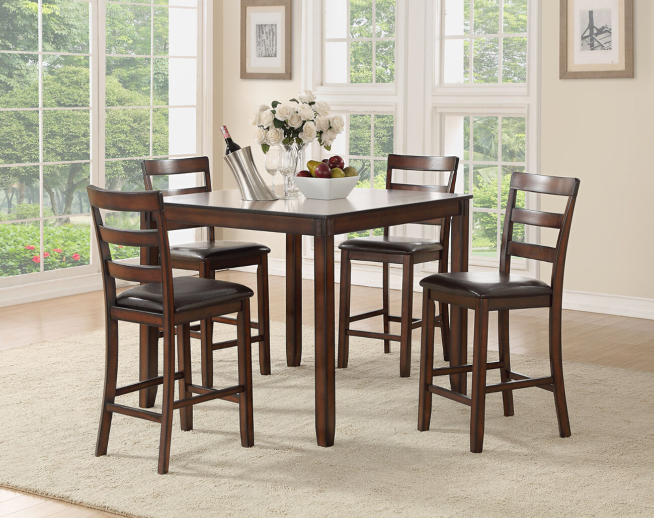 Wooden 5 Pieces Counter Height Dining Set In Brown