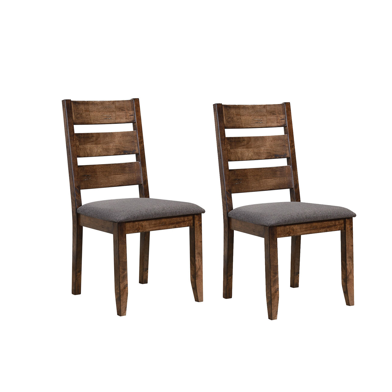 Wooden Ladder Back Dining Chair, Gray & Brown, Set of 2