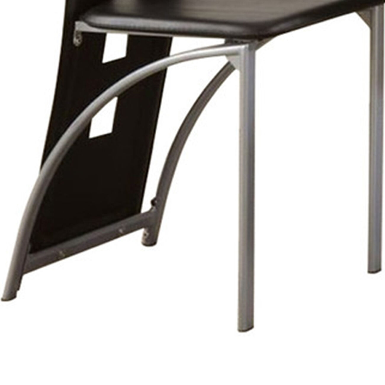 Contemporary Metal DINING CHAIR with cutout Back Set of 4 BLACK and CHROME