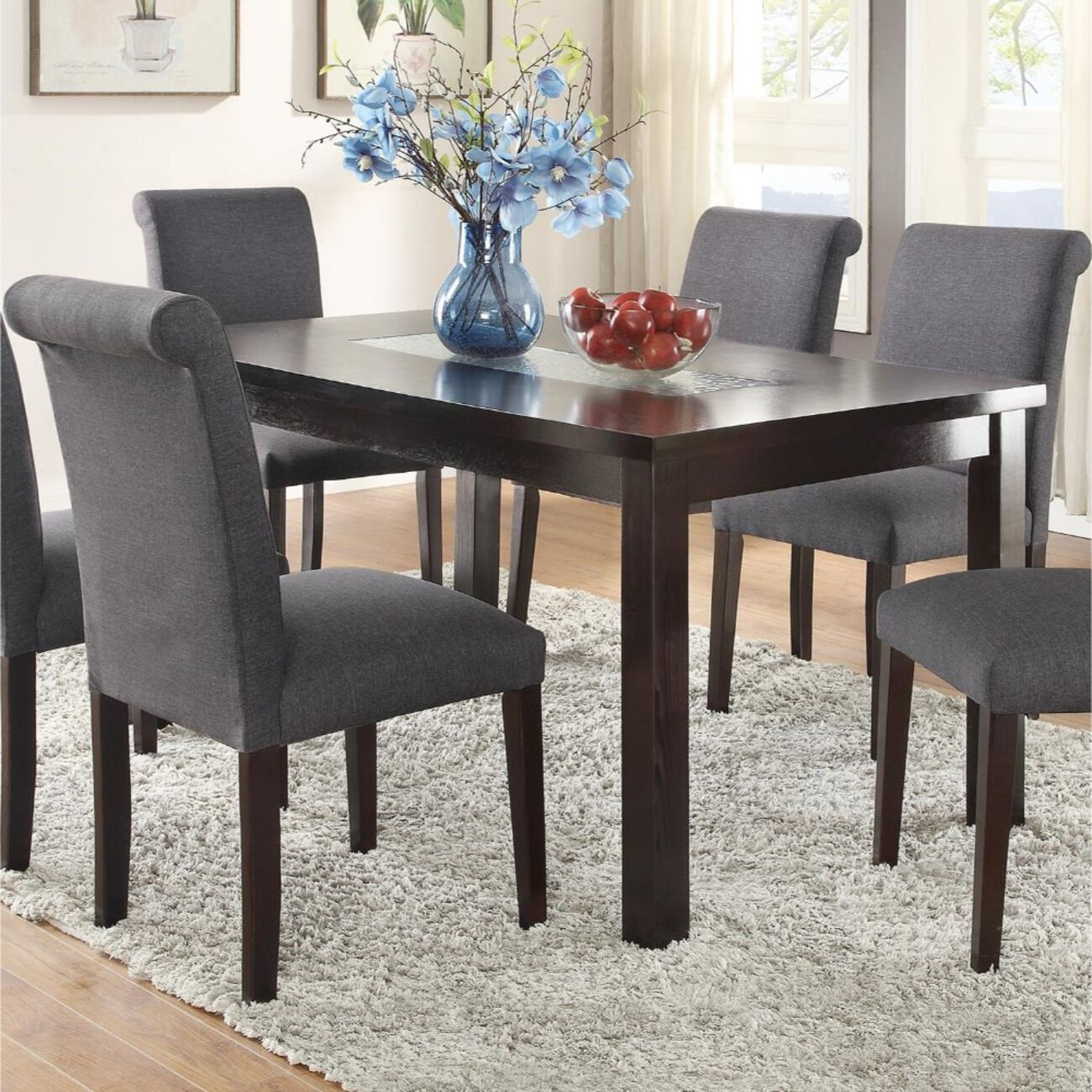 Wooden Dining Table With Tempered Glass Top, Brown