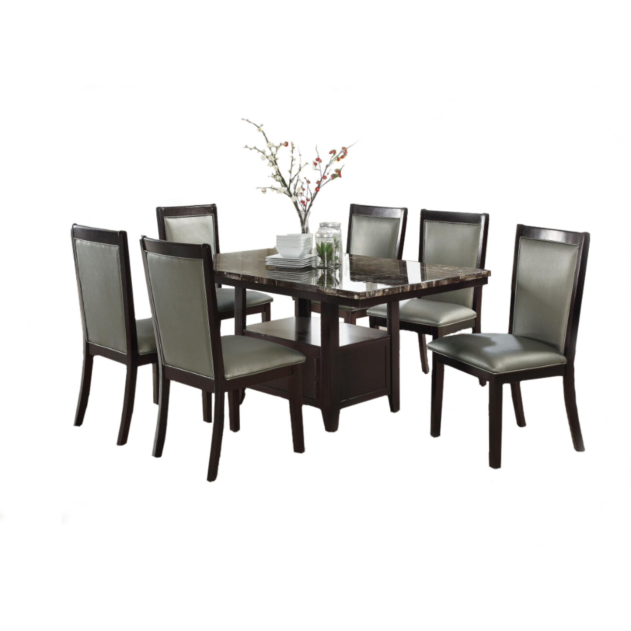 Wooden Dining Table With Spacious Bottom Storage Dark Brown