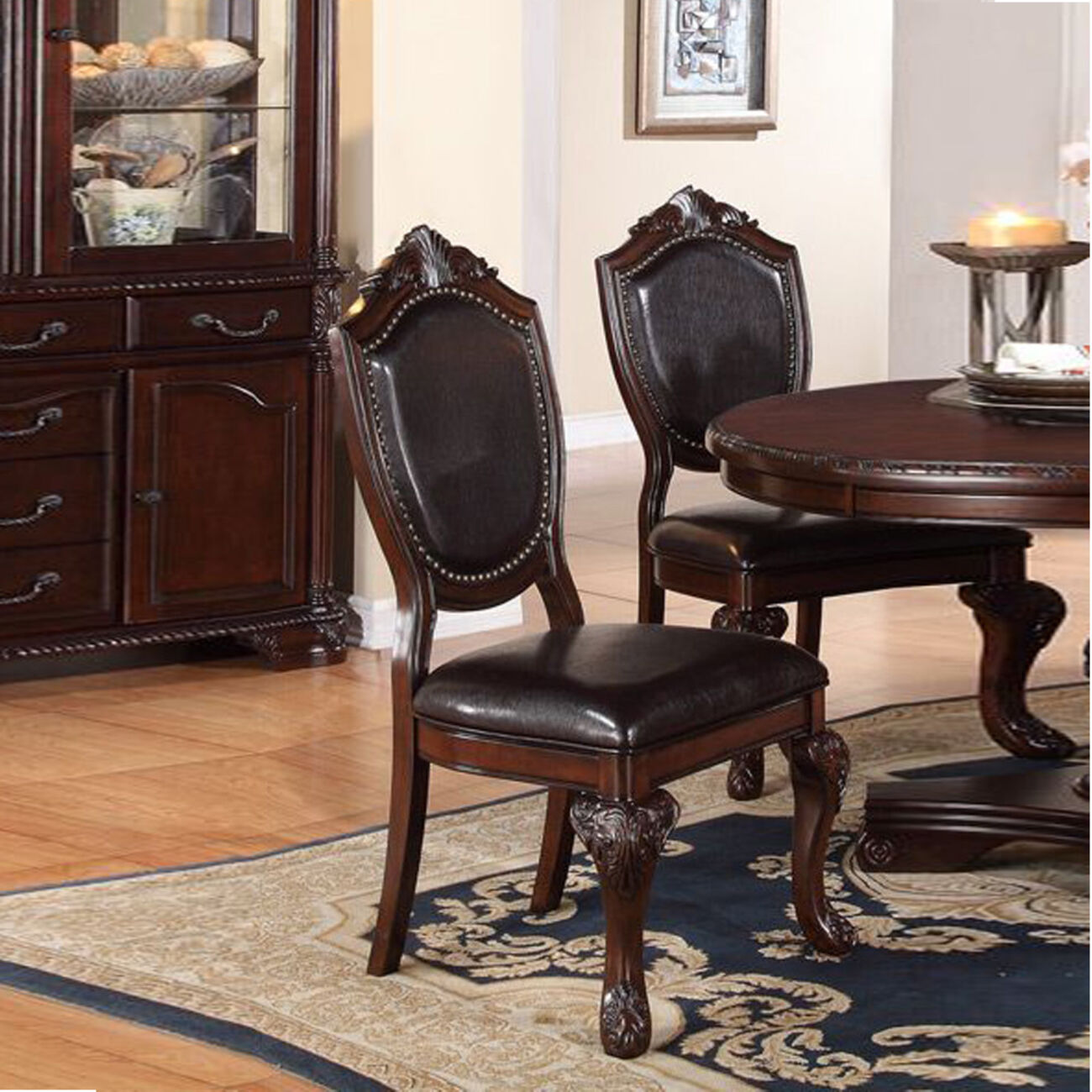 Rubber Wood Dining Chair With Faux Leather Upholstery , Set Of 2,Brown