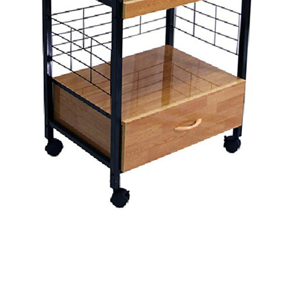 Wood and Metal Frame Microwave Cart with Power Outlet, Black and Brown