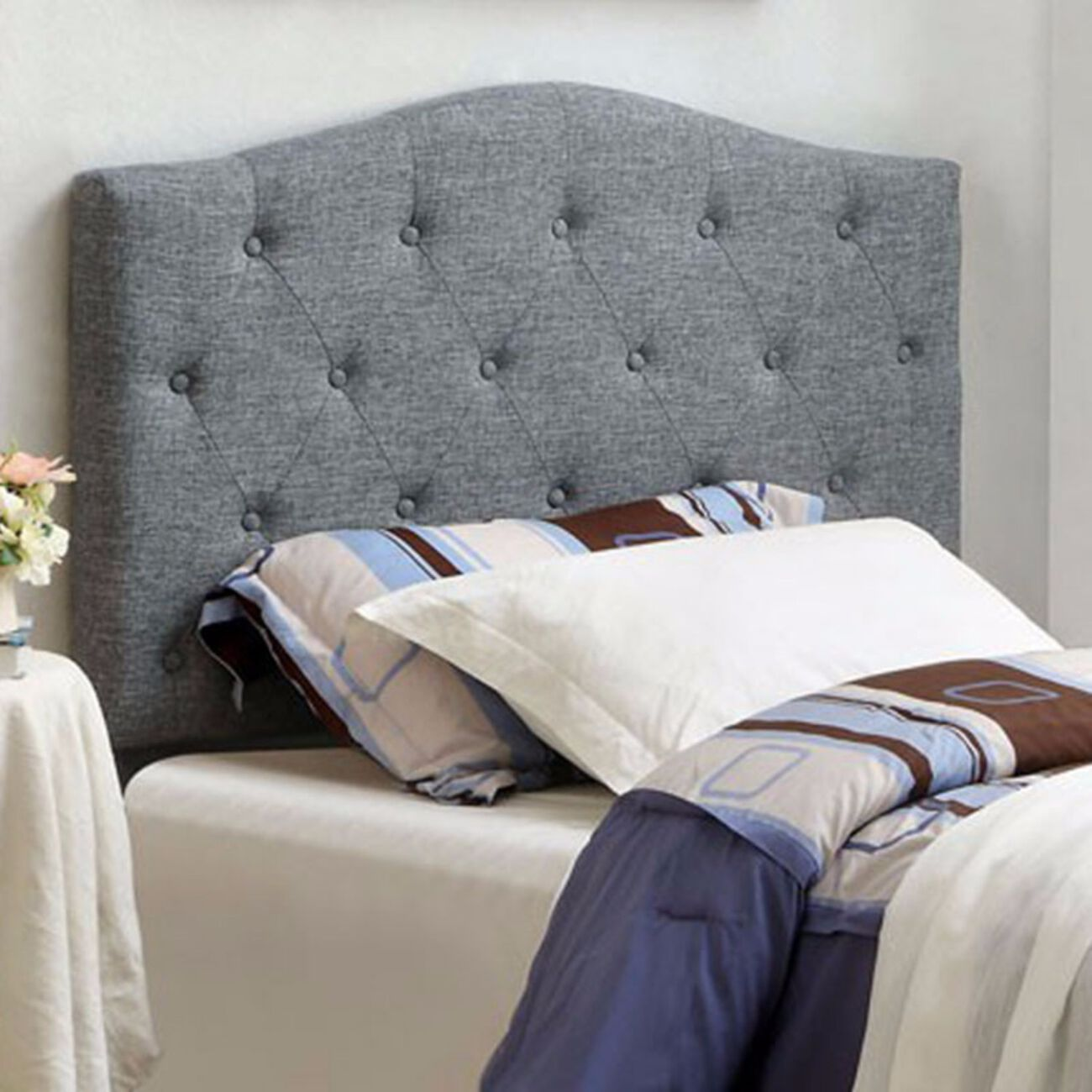 Alipaz Contemporary Twin Size Headboard, Gray