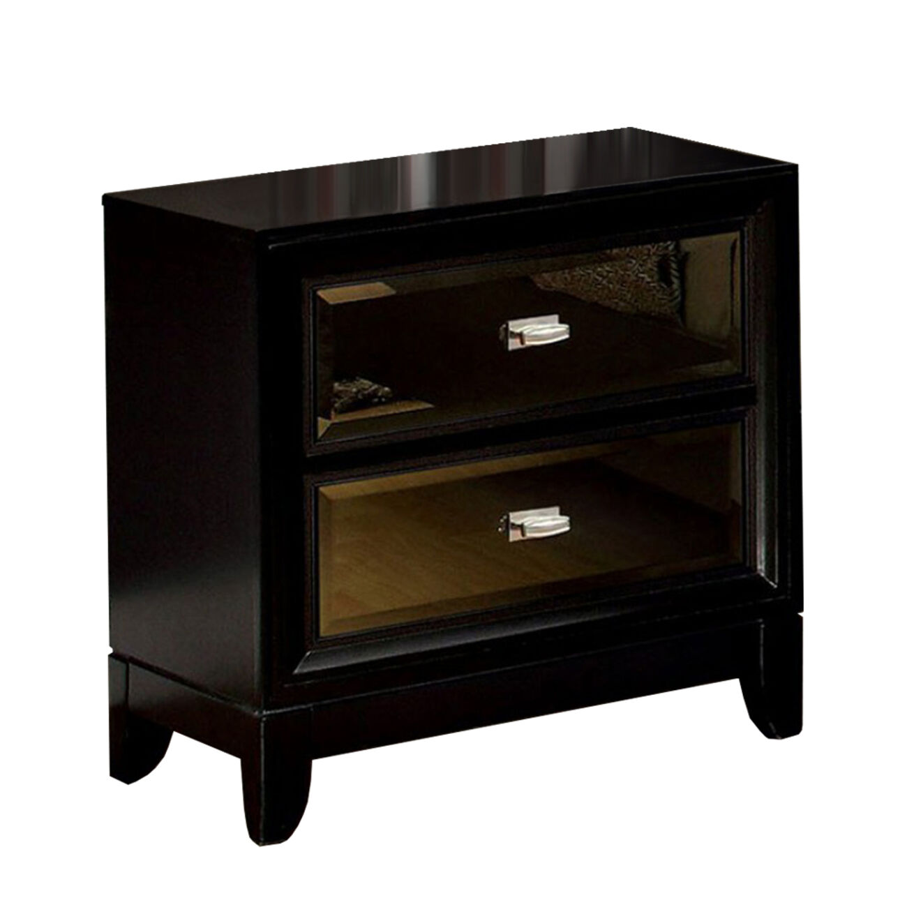 Golva Contemporary Style Nightstand, Black