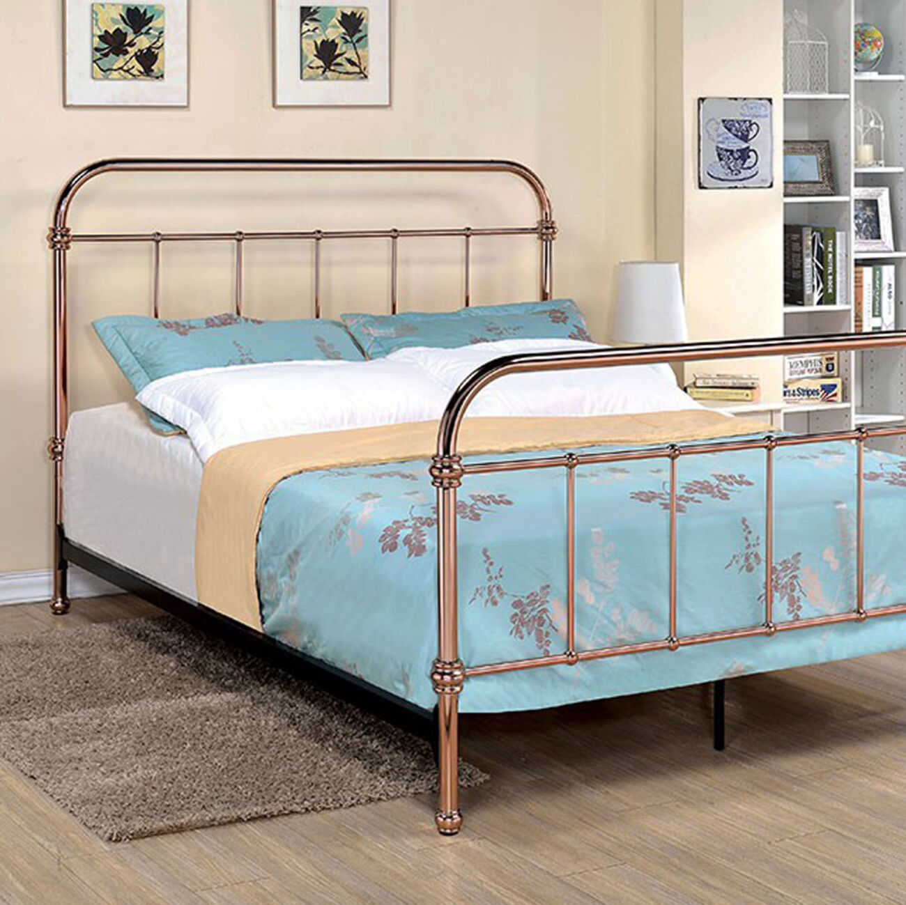 California King Bed with 5 Spindle Accents, Copper