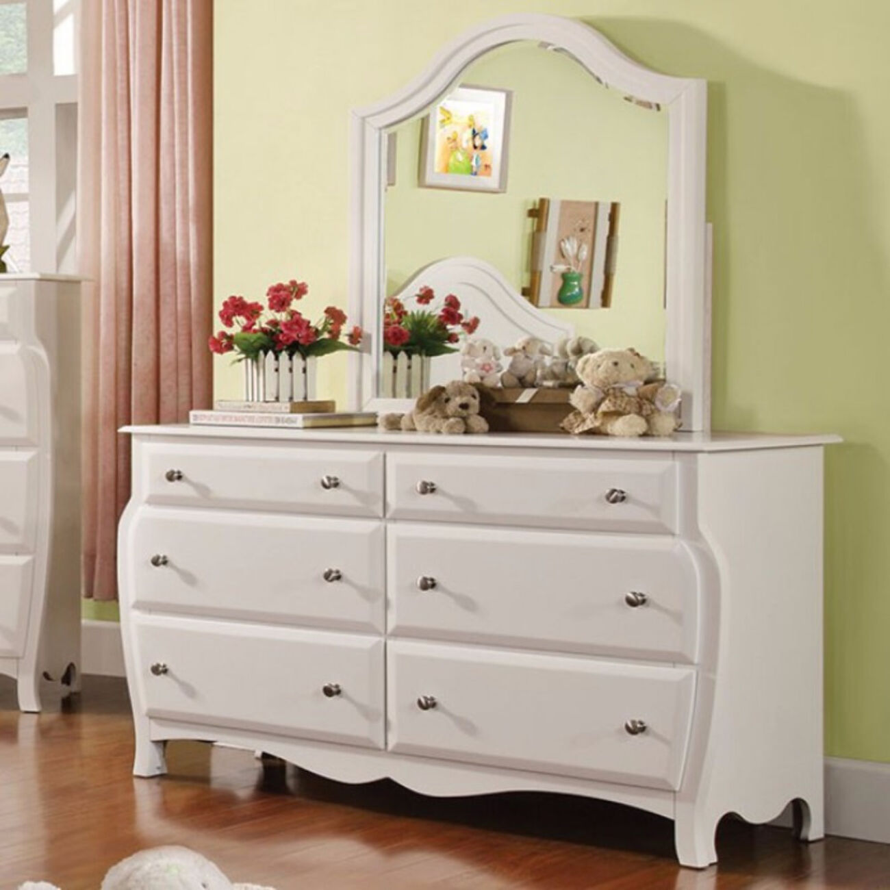 Wooden Nightstand with 3 Drawers and Metal Handles, White and Silver