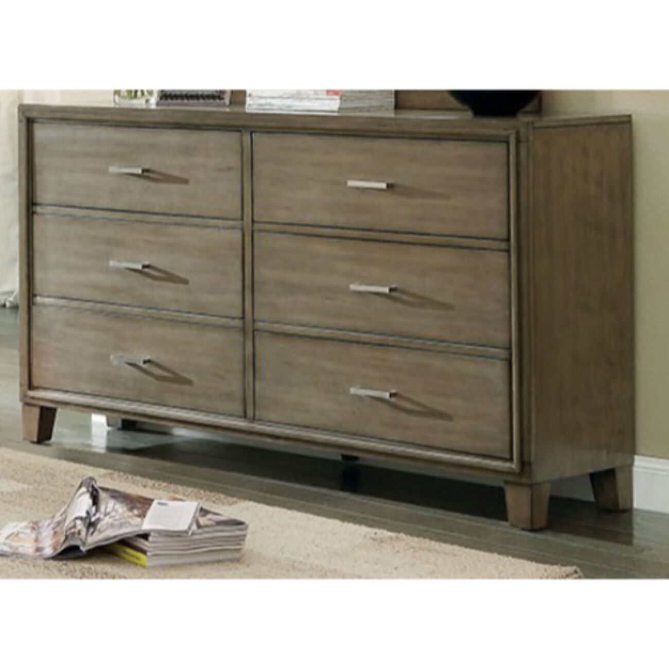 Subtle And Ultra-Fine Wooden Dresser In Contemporary Style, Gray