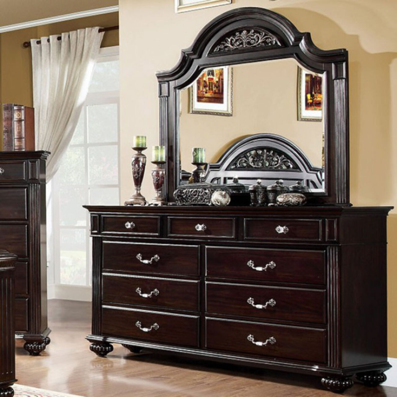 Ravishing Wooden Transitional Style Dresser, Dark Walnut Brown