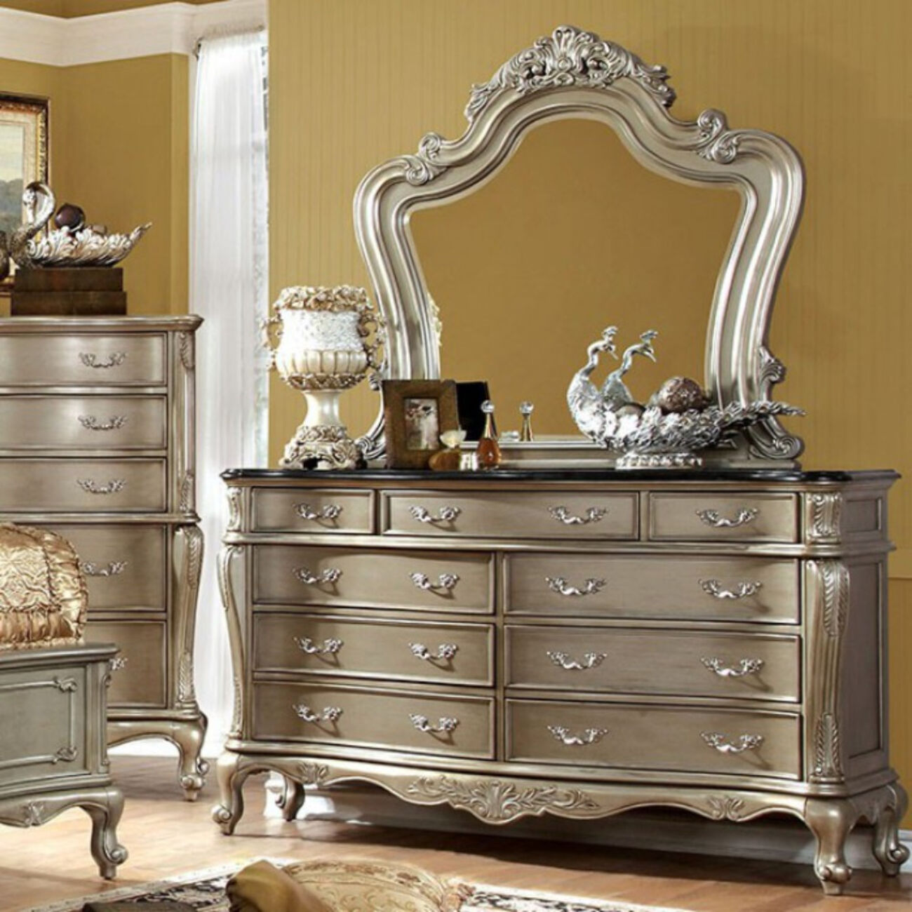 Opulent Lush Luxurious Designer Wooden Dresser, Gold Design