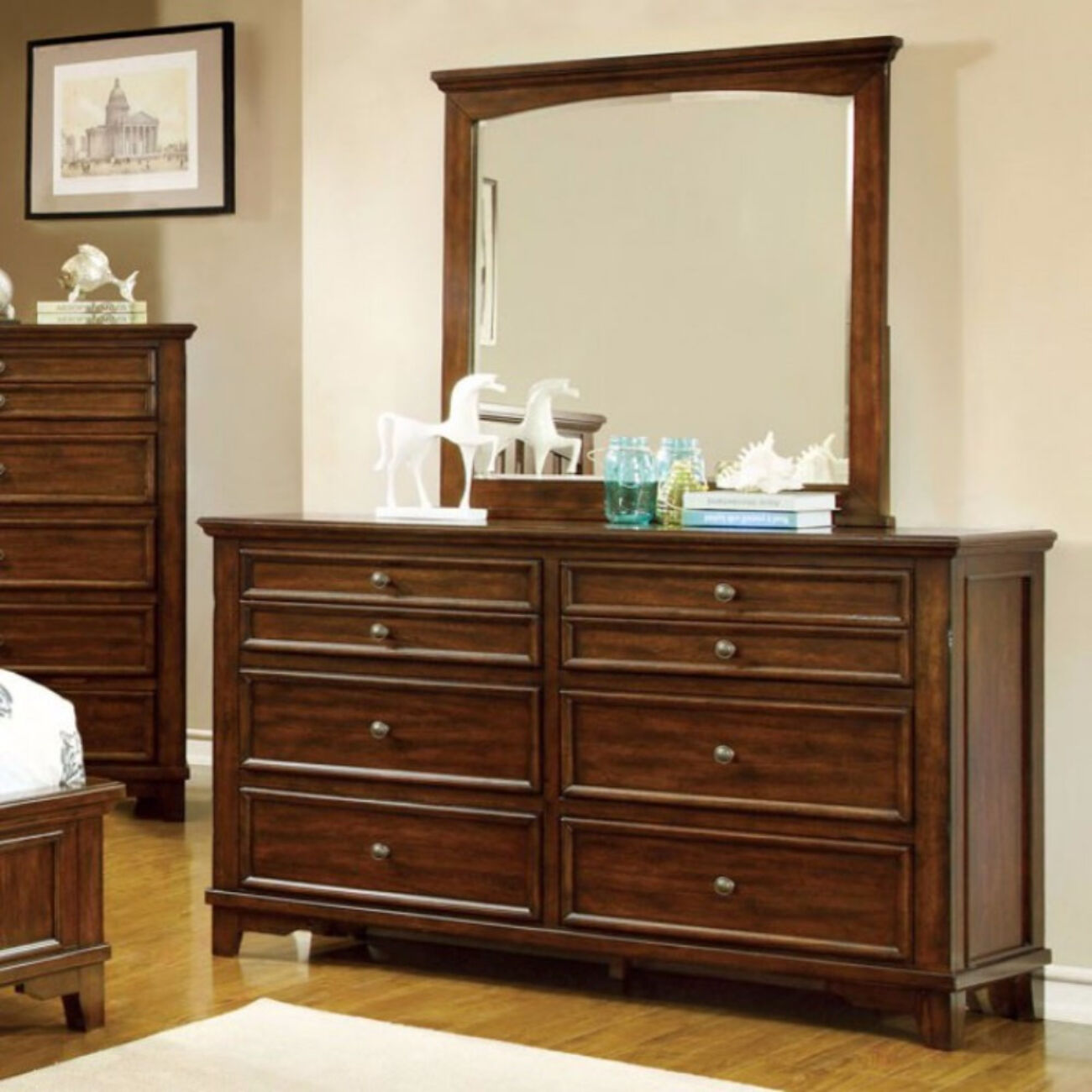 Pristine And Minimal Wooden Dresser In Transitional Style, Brown Cherry