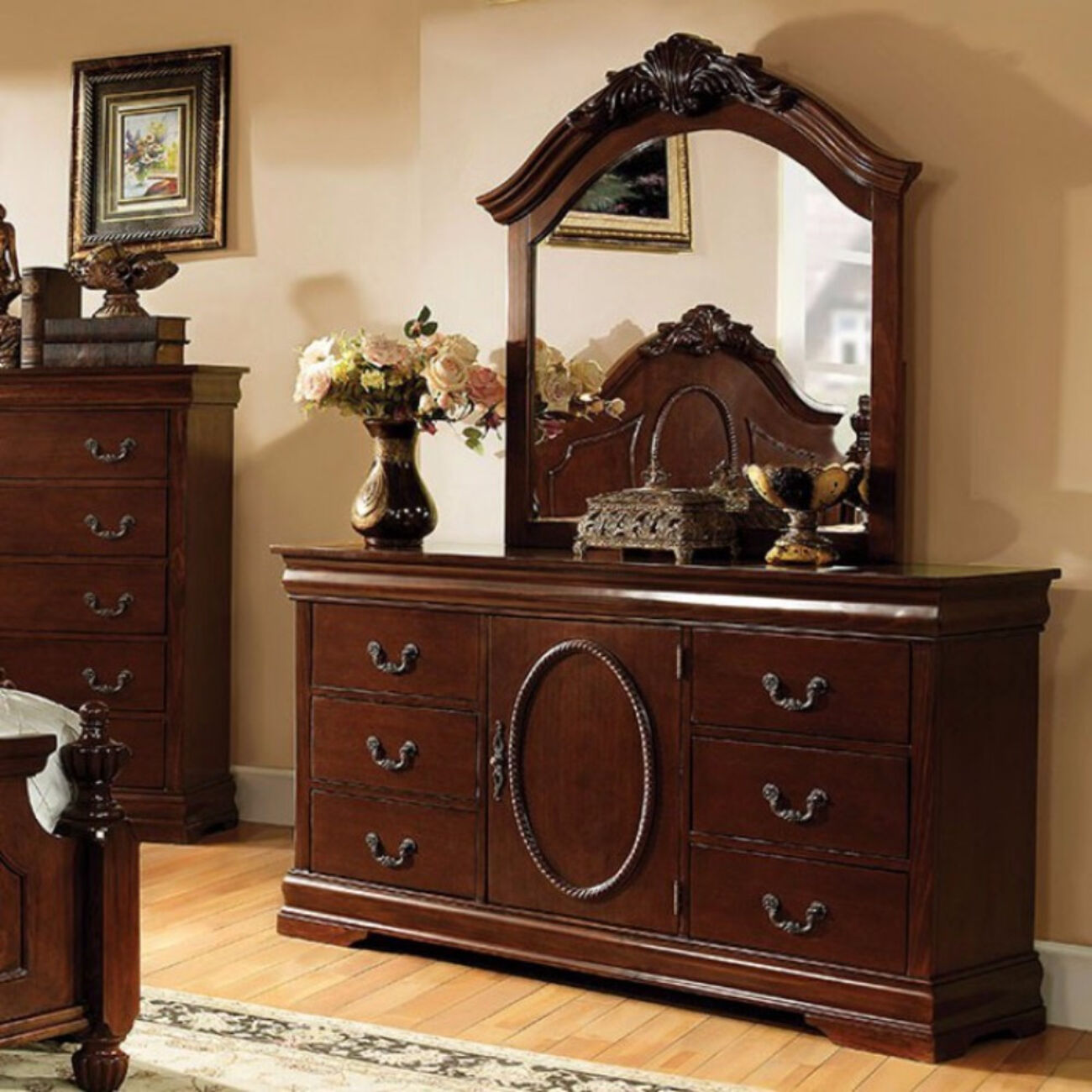 Phenomenal Wooden Dresser In Traditional Style, Brown Cherry