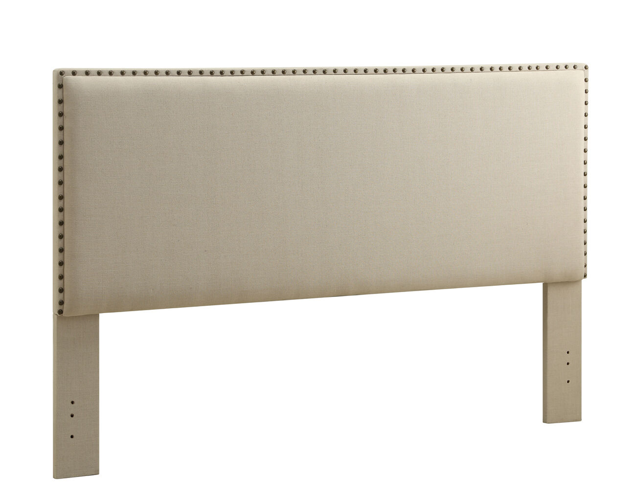 Fabric Upholstered King Size Headboard with Nailhead Trims, Beige