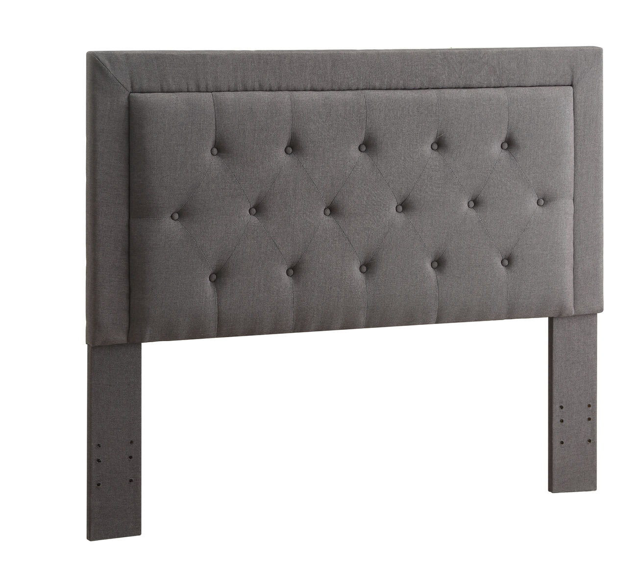 Fabric Upholstered Full Queen Headboard with Button Tufting, Gray