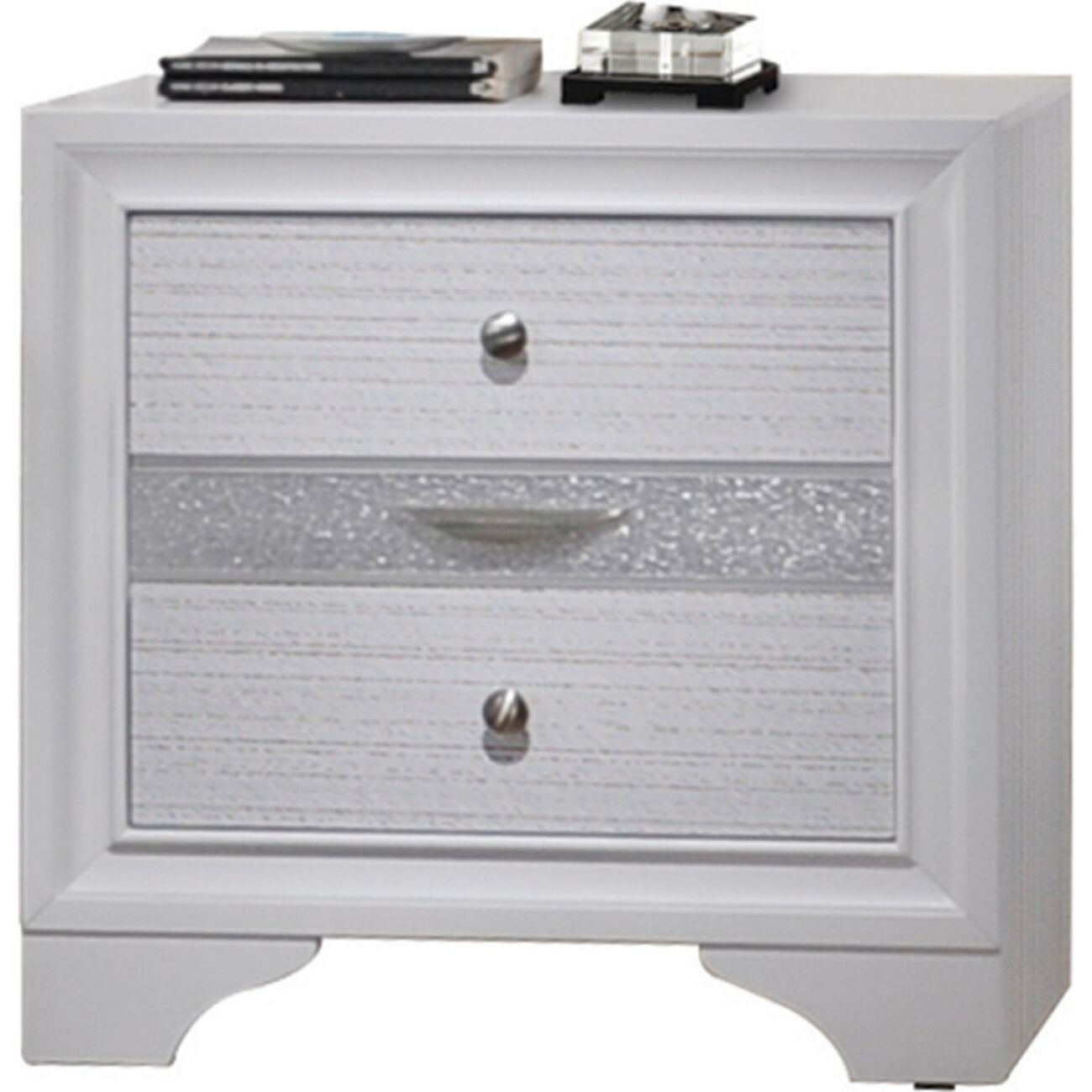 Stylish 3 Drawers Wood Nightstand By Naima , White