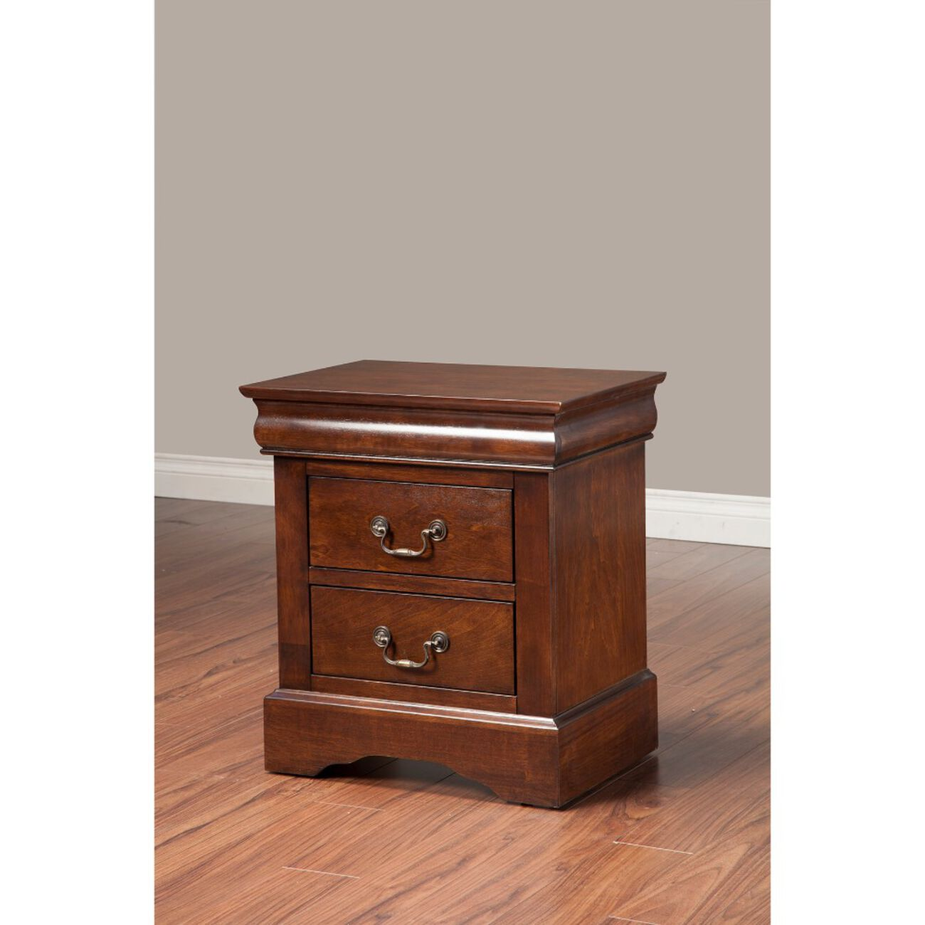 Rubberwood 2 Drawer Nightstand With Antique Handles Brown