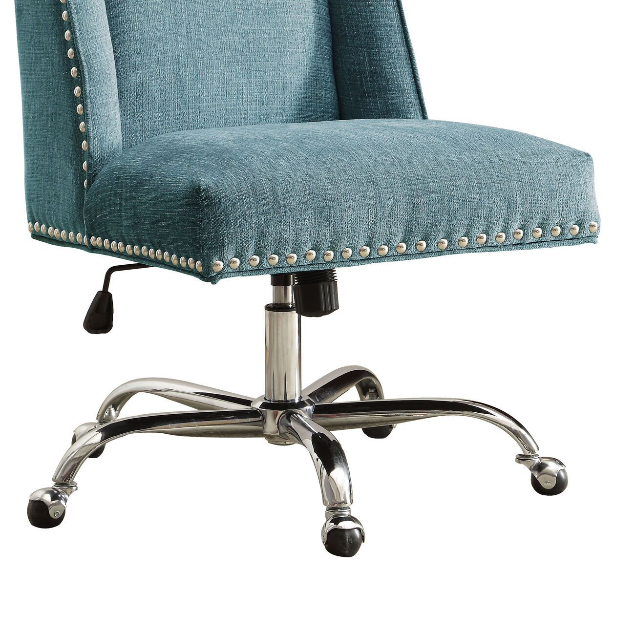 Height Adjustable Swivel Office Chair with Metal Base, Blue and Silver