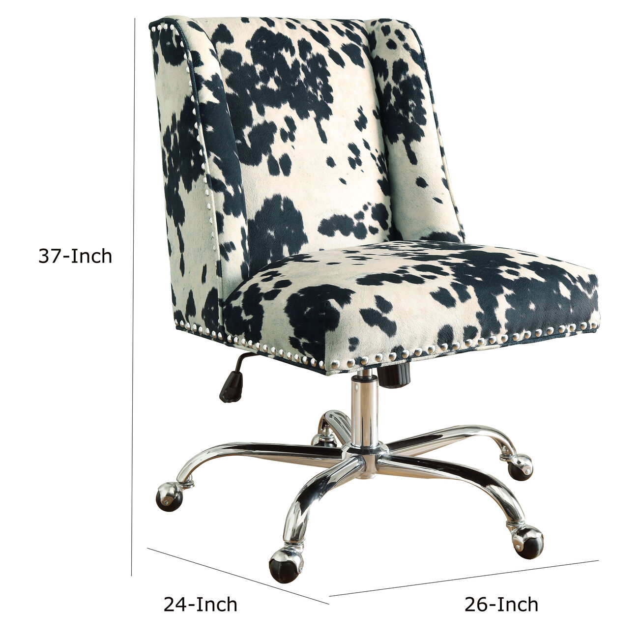 Height Adjustable Swivel Office Chair with Metal Base,Black and White