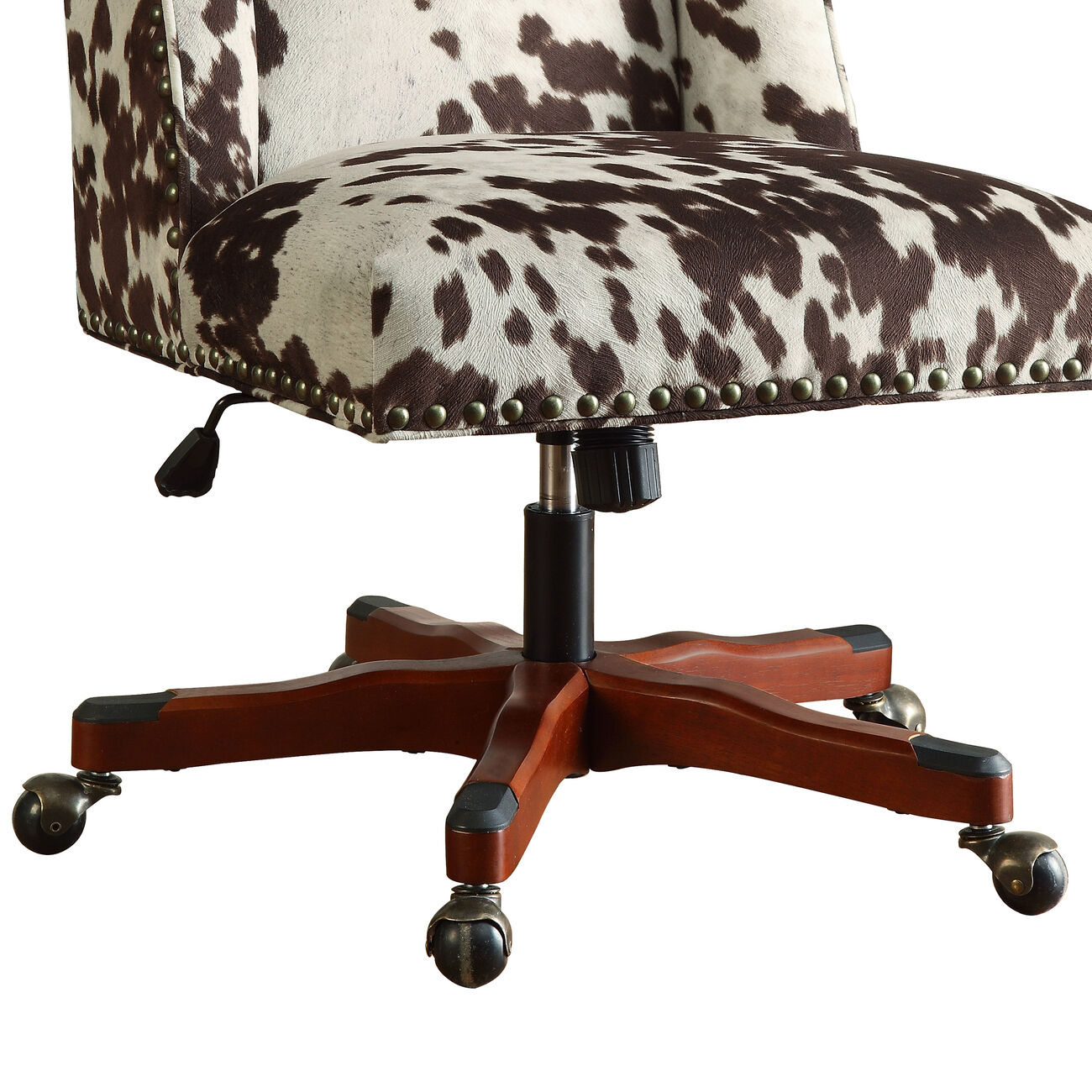 Height Adjustable Swivel Office Chair with Wood Base, Brown and White