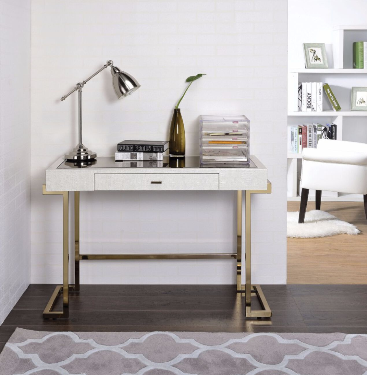 Mirror Top Writing Desk, White & Gold