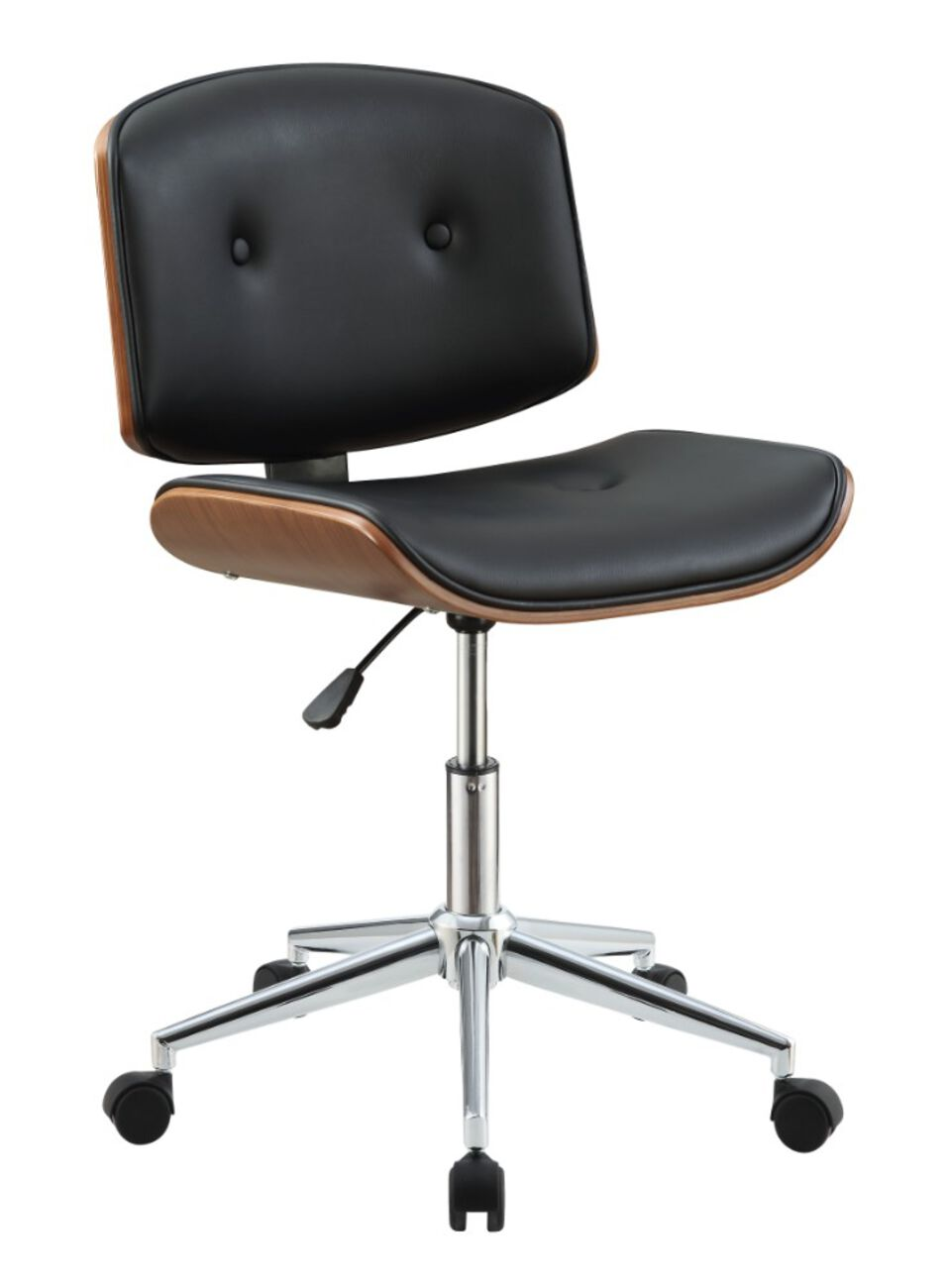 Wooden Back Armless Office Chair with Metal Star Base, Black and Brown