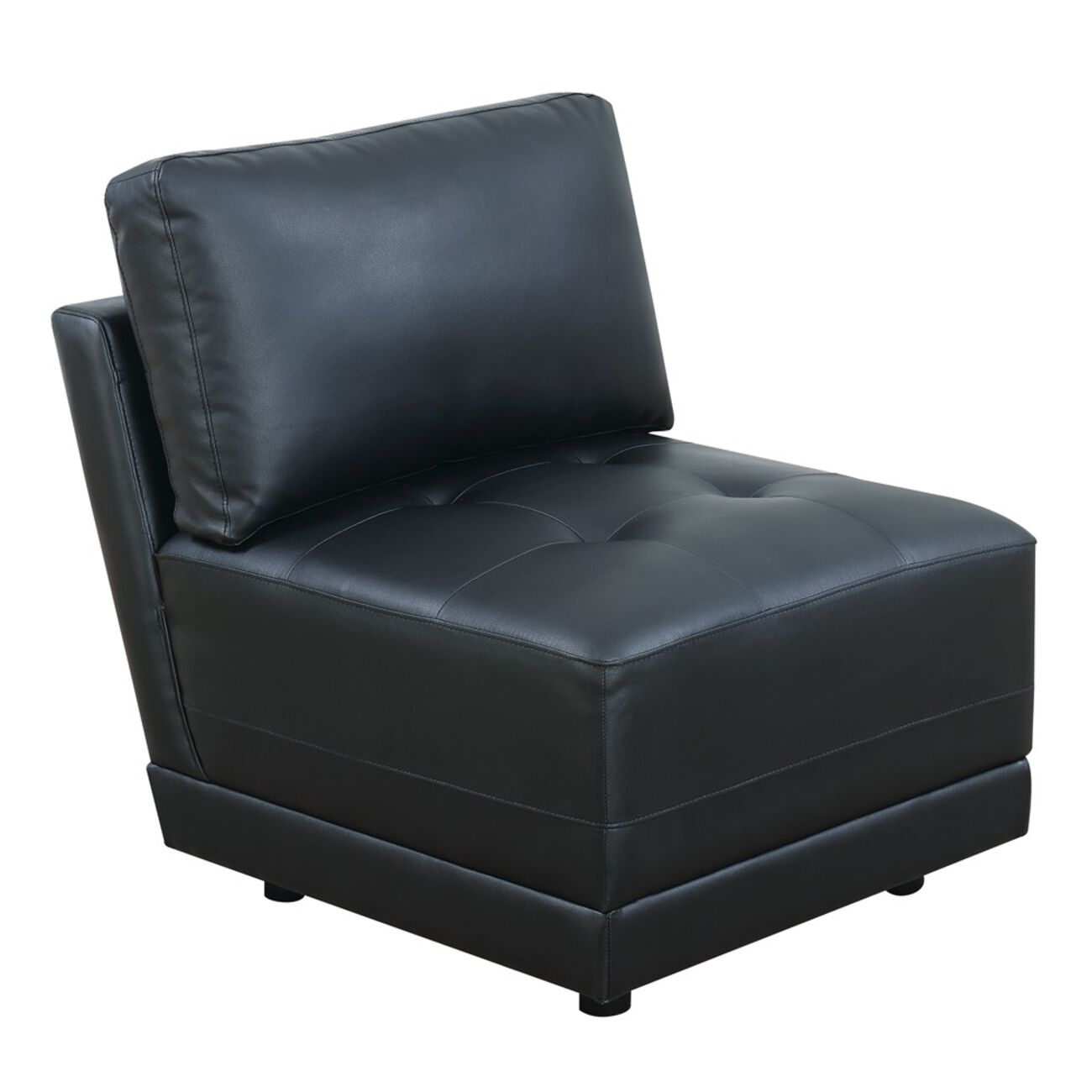 Leather Armless Chair With Back Cushion, Black