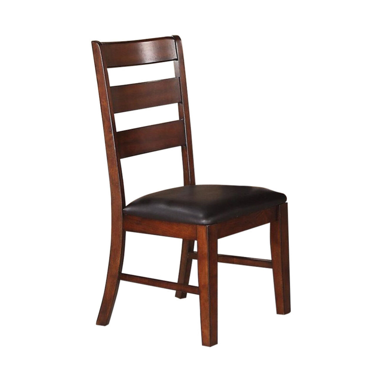 Solid Wood Side Chairs With Ladder Back Set Of 2 Brown