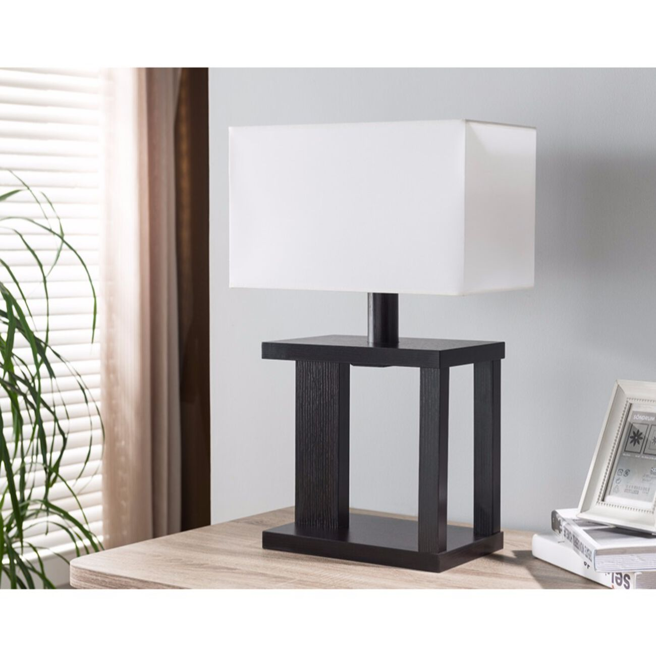Table Lamp With Rectangular Shade, Dark Brown