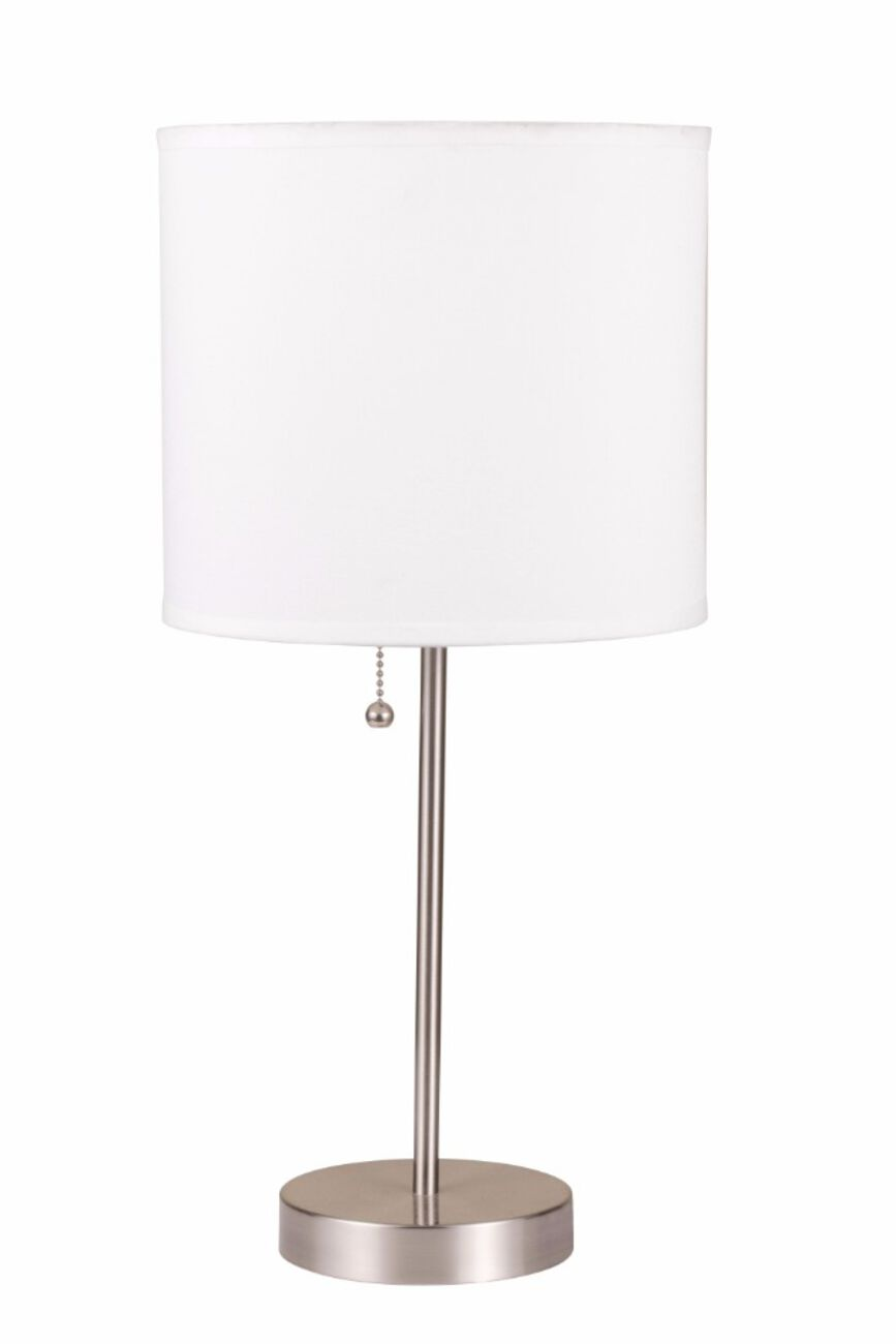 Sophisticated Metal Table Lamp, White & Silver, Set of 2