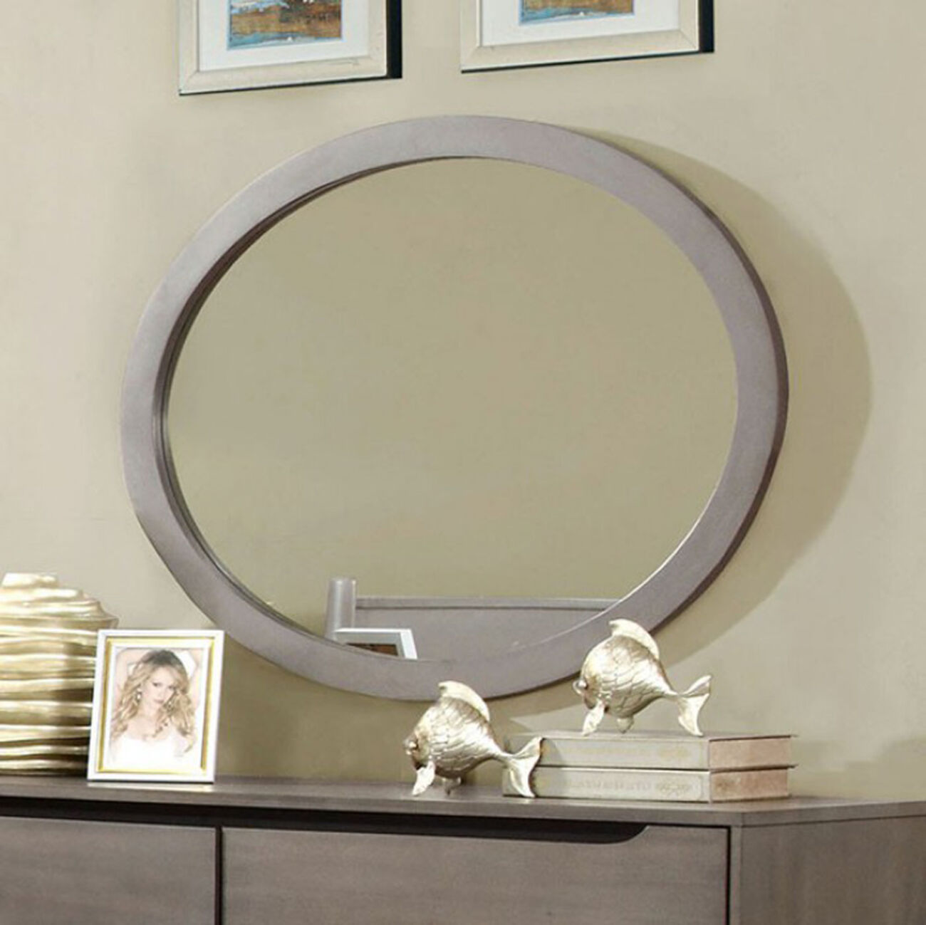 Chic Wooden Oval Mirror, Gray