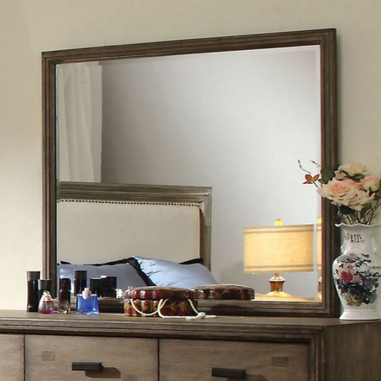 Antler Transitional Style Mirror In Natural Ash Finish