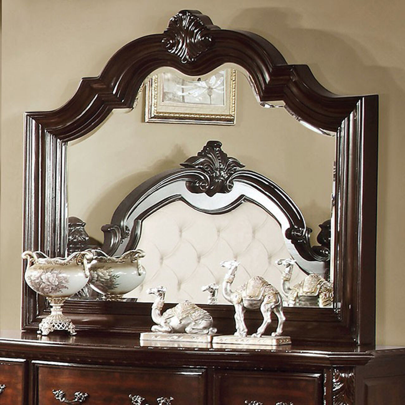Monte Vista I Traditional Style Mirror, Brown Cherry