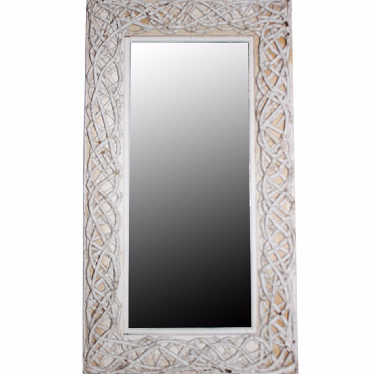 Mirror With Rattan Frame, White