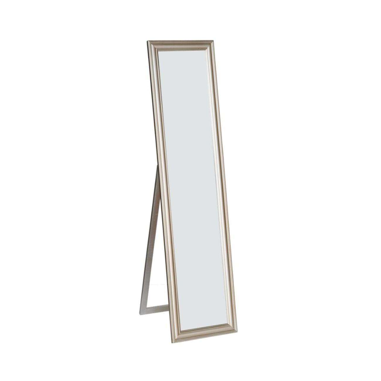Standing Mirror withDecorative Design, Champagne Gold