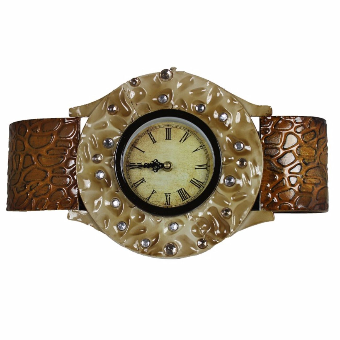 Wrist Look Metal Wall Clock,Brown