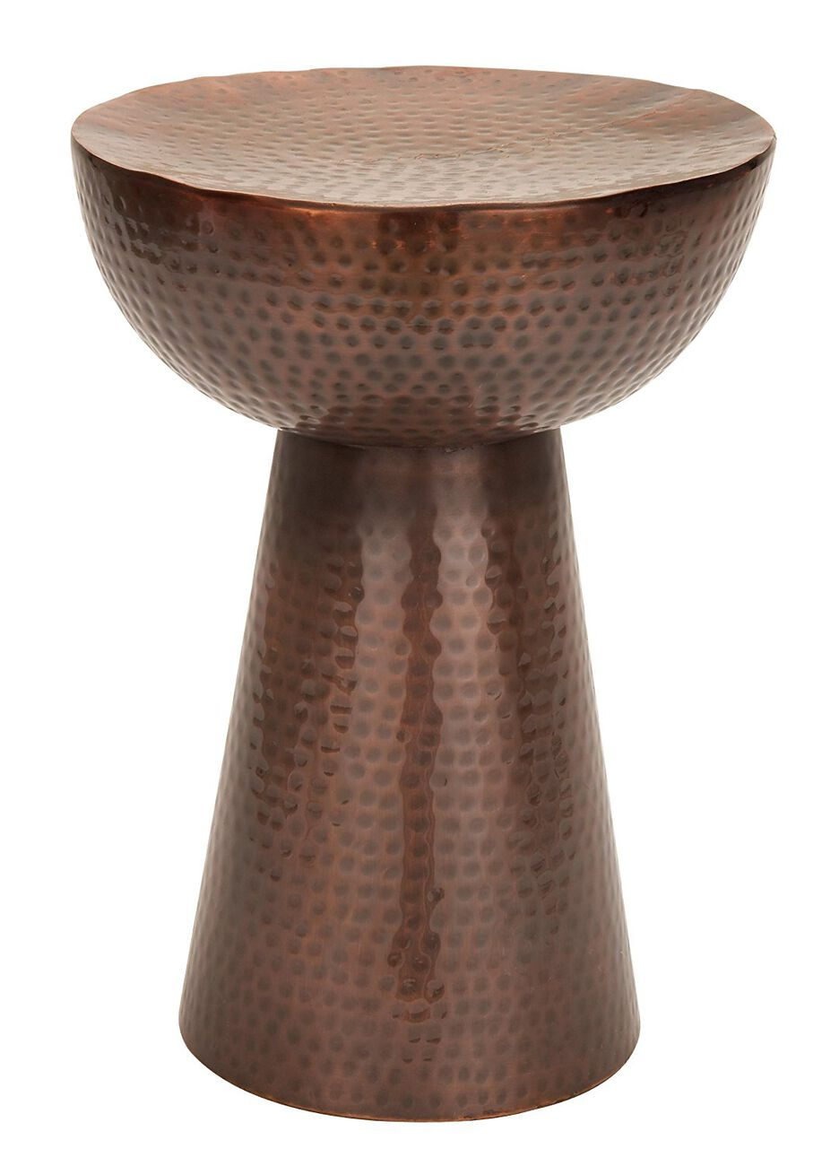 Sitting Stool, Copper-Hued Finish with Hammered Styling